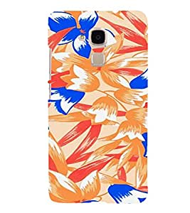 PrintVisa Colorful Flower And Leaves Pattern 3D Hard Polycarbonate Designer Back Case Cover for HONOR 5C