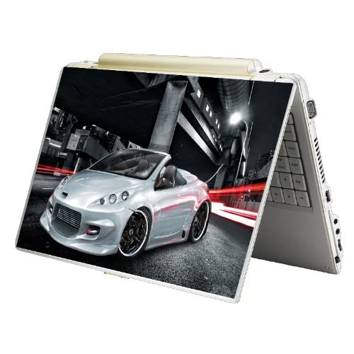Bundle Monster Laptop Notebook Skin Sticker Cover Art Decal   12 14 15   Fit HP Dell Asus Compaq   White Race Car