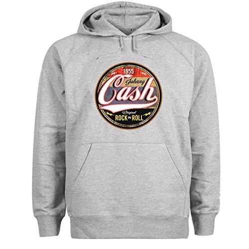 Johnny Cash Rock N Roll Grigio Felpa con cappuccio unisex 5X Large