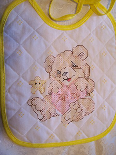 Teddy Bear with Yellow Trim Stamped Cross Stitch Baby Bib