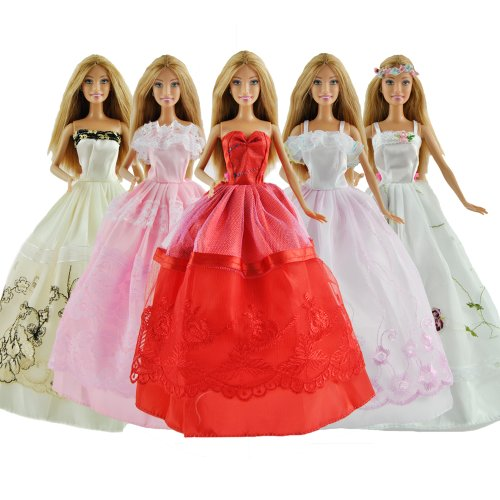 Yiding Lot 5 P 5X Fashion Handmade Clothes Dresses Grows Outfit For Barbie Doll E Set