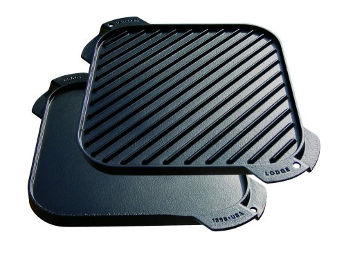 Lodge Logic Single Burner Reversible Grill / Griddle - 10-1/2-by-10-1/2