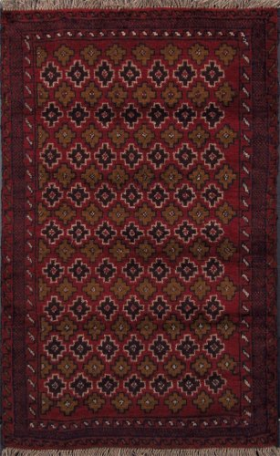 3 X 5 Geometric Burgundy Gold Black Hand Knotted Handmade Royal Balouch Wool on Wool Persian Area Rug Oriental G490