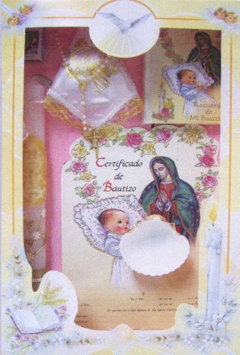 Baptism Gift Sets - Rosary - Sculptured Candle - Missal - Hanky - Shell - Gift Box 16in.x10in. - ENGLISH, Girl