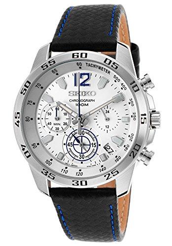 Seiko Quartz Chronograph White Dial Black Leather Mens Watch SSB133