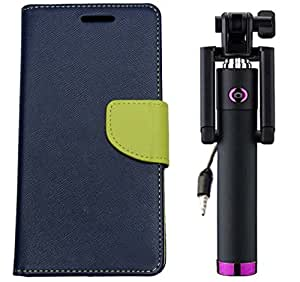 Novo Style Rich Diary Dual Wallet Flip CoverSamsung Galaxy Grand 2 7106 - Blue Premium U-Shape Wired Selfie Stick No Battery Charging Self-portrait Extendable Selfie Stick