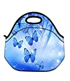 Soft Boys Girls Waterproof Insulated Neoprene Food Container School Office Travel Outdoor Work Lunch Bag Tote Cooler Lunchbox Handbag Food Storage Carrying Case (Blue Butterflies) HST-LB-126