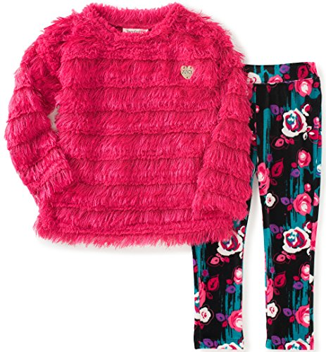 Juicy Couture Baby Girls' Eyelash Sweater and Printed Pant Set, Pink, 18 Months