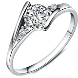 Women's White Cubic Zirconia Love Promise Cz Ring Engagement Wedding Eternity Bands Silver 6