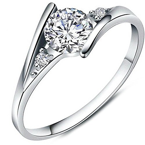 Women's White Cubic Zirconia Diamond Love Promise Cz Ring Engagement Wedding