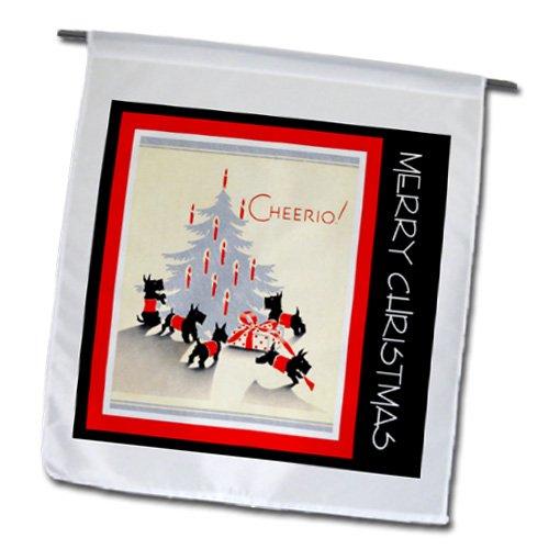 3Drose Fl_165435_1 Vintage Artwork Scottie Christmas Tree Garden Flag, 12 By 18-Inch
