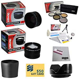 10 Piece Ultimate Lens Package For the Panasonic Lumix DMC-FZ5 DMC-FZ7 DMC-FZ8 Digital Camera Includes .43x High Definition II Wide Angle Panoramic Macro Fisheye Lens + 2.2x Extreme High Definition AF Telephoto Lens + Professional 5 Piece Filter Kit (UV, CPL, FL, ND4 and 10x Macro Lens) + Tube Adapter+ Flower Lens Hood + Deluxe Lens Cleaning Kit + LCD Screen Protectors + Mini Tripod + 47stphoto Microfiber Cloth + $50 Photo Print Gift Card!