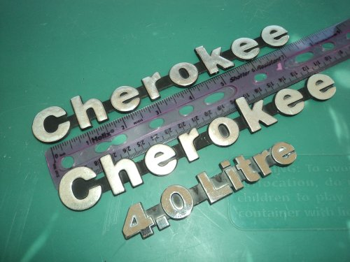 CHEROKEE METAL 4.0 LITRE HIGH OUTPUT USED EMBLEM LOGO SET OF 3 (Cherokee Emblem compare prices)