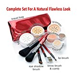 """DARK"" Natural Makeup, IQ Natural Large Mineral Makeup Kit 12pc (DARK shade) - Concealer, Bronzer, Eye Shadow, Setting Powder, 2 Full Size Mineral Foundation - Create A Natural Flawless Look"