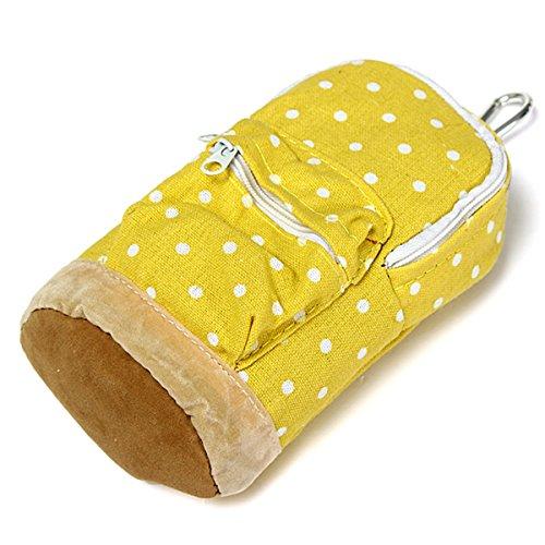 KINGSO Bleistiftbeutel Bleistift Tasche Leinwand Tasche Make-up Tasche Aufbewahrungstasche Gelb