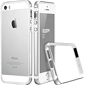 iPhone SE ケース スリム、ESR iPhone5s メタル フレーム 軽量アルミ 削り出し「光沢HD保護フィルムゲット」 iPhone SE カバー iPhone5s カバー (シルバー)