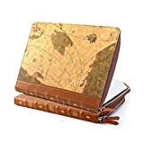 Macbook Pro Retina 13, GMYLE Book Case Vintage for Macbook Pro Retina 13 inch - Brown Map Pattern PU Leather Sleeve (Not fit for MacBook Pro 13 A1278/ Air 13 A1369 and A1466)
