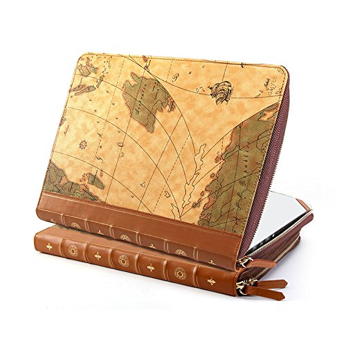 GMYLE Book Case Vintage for Macbook Pro/Air 13 inch - Brown Map Pattern PU Leather Sleeve (Not fit for Macbook Pro Retina 13 A1425 and A1502)