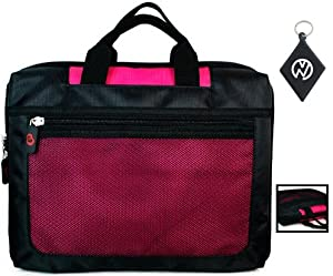 Dell Inspiron 17R-N7110 17.3 Inch Notebook Laptop Computer Nylon Sleeve Carrying Case with Extra Compartment Pockets, Color Black / Magenta + NuVur ™ Keychain (ND17SEM1)