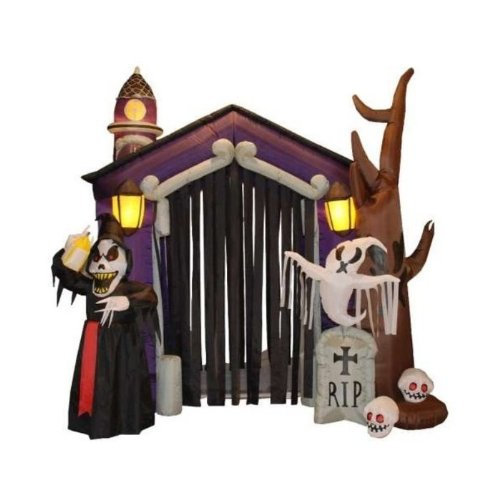 8.5 Foot Halloween Inflatable Haunted House Castle with Skeleton Ghost & Skulls