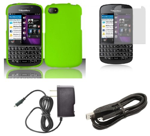 Blackberry Q10 - Premium Accessory Kit - Neon Green Hard Cover Case + Atom Led Keychain Light + Screen Protector + Micro Usb Cable + Wall Charger