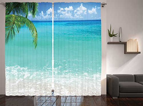 Ambesonne Ocean Decor Collection, Exotic Lebanon Beach Panoramic Sea View and Clear Sky Picture, Window Treatments, Living Room Bedroom Curtain 2 Panels Set, 108 X 84 Inches, Aqua Blue Green Ivory