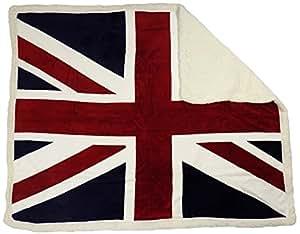 couverture dessus lit rouge blanc bleu drapeau anglais doux 125 x 150cm cuisine maison. Black Bedroom Furniture Sets. Home Design Ideas