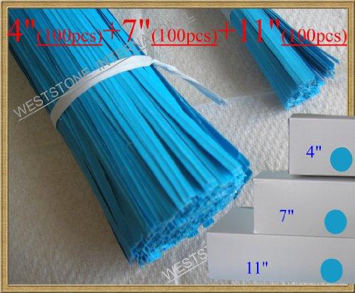 300pcs Paper Blue Twist Ties - 3 Sizes (4