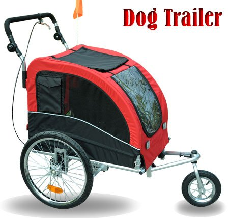 Aosom 2 in 1 Double PET TRAILER Bike Trailer/Stroller - Red