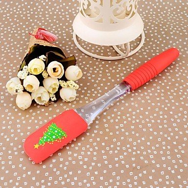 JJE23.5CM*3.5CM *1CM Small Size High Quality Silicon Kitchen Baking Tools Christmas Trees Printing Butter Scraper