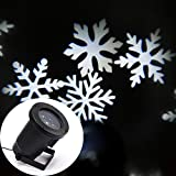 SWE Snowflakes Lamp Laser Light Sparkling Landscape Projector Waterproof Outdoor Decor Spotlights Garden Tree and Wall Motion Decoration Christmas Holiday Lighting(White Snow)
