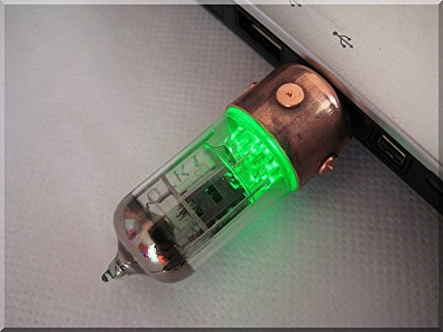 Handmade 32GB GREEN Pentode Radio Tube USB Flash Drive. Steampunk/Industrial style ####### (Tags: Stick Thumb Pen Key Drive Storage Memory Disk. Metal Handwork Handcraft Exclusive Unique Best Cool Great Retro Vintage Gadget Device. Idea for Christmas New Year Birthday Present Gift. For Geek Man Him Dad Boy Teen. For Computer Tablet PC Notebook Laptop Mac)