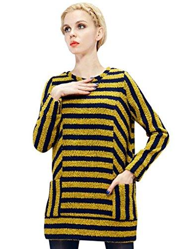 Elf Sack Women'S Winter Dress Round Collar Wool Blue Yellow Stripes Pockets
