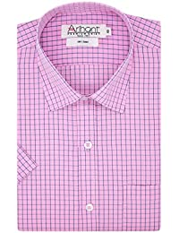 Arihant Men's Half Sleeves Checkered 100% Cotton Regular Fit Formal Shirt