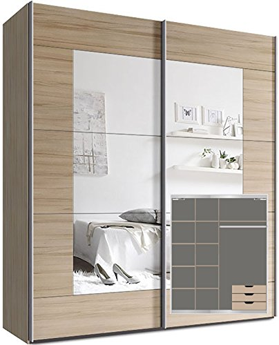 Kleiderschrank-Schwebetrenschrank-ca-180cm-inkl-9-Einlegebden-Trdmpfer-fr-2-Tren-und-3x-Schubladen-Buche-Spiegel