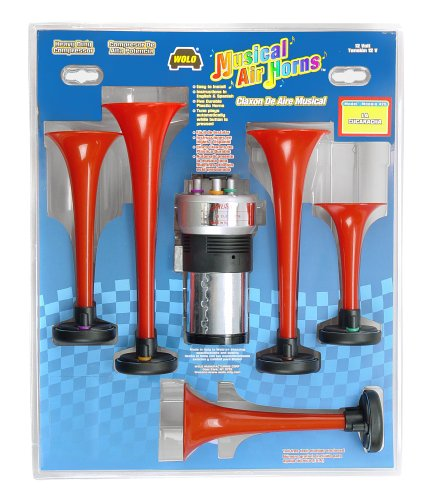 Wolo Model  440 Plastic Six Trumpet Musical Air Horn Kit , Plays Godfather Song - 12 Volt