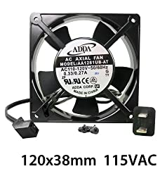 Adda 120mm X 38mm New Case Fan 110V 115V 120V AC 107CFM 2 Pin Sleeve Bearing Cooling Cordset