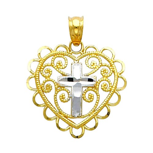 14K Yellow and White 2 Two Tone Gold Cross in Heart Charm Pendant