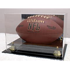 Deluxe UV Acrylic Full Size Football Display Case with Mirror by STG Supplies