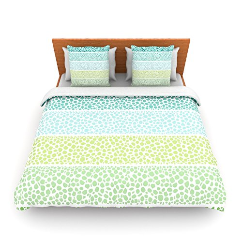 "Kess Inhouse Pom Graphic Design ""Zen Pebbles"" Green Teal Queen Fleece Duvet Cover, 88 By 88-Inch front-991258"