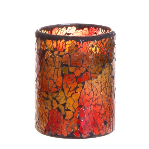 Dfl 3*4 Inch Red Mosaic Glass Flameless Led Candle With Timer,Work With 2 Aa Battery