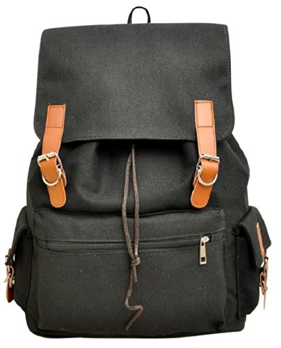 AM Landen Medium Size Canvas Backpack School Bag Travel Bag(Black) image