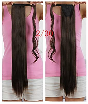Onedor Straight Wrap Around Ponytail Extension for Woman Synthetic Hair 120g-130g