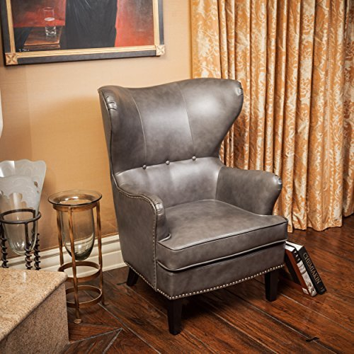 Romford Charcoal Grey Bonded Leather Wingback Club Chair