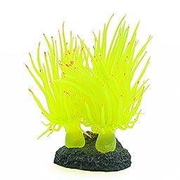 Gold Wing Aquarium Fish Tank Silicone Sea Anemone Artificial Decor Ornament(Yellow)