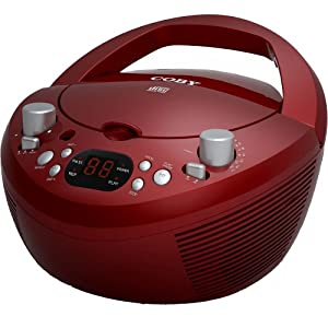 Coby CXCD251RED Portable CD Player with AM/FM Radio, Red (Discontinued by manufacturer)