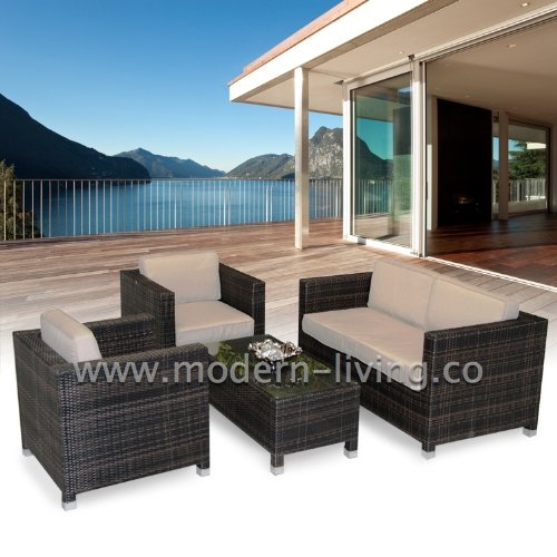 Milan 4pc Rattan Garden or Conservatory Furniture Sofa Set - Fully Assembled