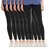 Fashion Printed Women's Super Soft Fleece Lined Leggings, One Size - Pack Of 6 - Blacks