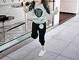 ( AngelKids ) 女児 トレーナー 上下 セットアップ 子供 プルオーバー スウェット サルエル (グリーン★90㎝)