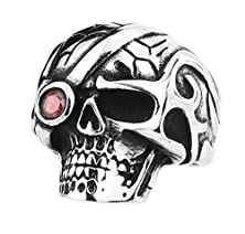 buy Bishilin Stainless Steel One Red Eye Skull Rings For Men Size 11